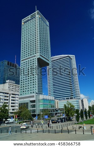 WARSAW, POLAND, 20,JULY 2016 ; Hotel Inter Continental is located in the center of Warsaw. Modern architecture in Warsaw - stock photo