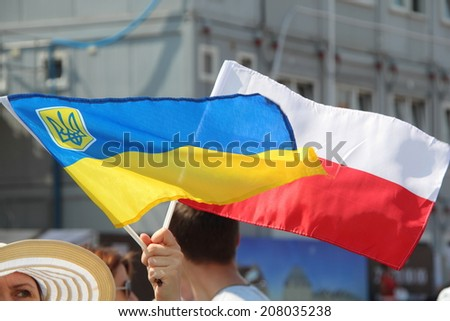 WARSAW, POLAND - July 27: The pro-Ukrainian protest against policy of the president of Russia Vladimir Putin, on July 27, 2014 in Warsaw, Poland.  - stock photo