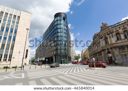 WARSAW, POLAND - JUNE 11, 2016: Modern skyscraper that is named Astoria Premium Office Building was built in the downtown and its construction was completed in 2016