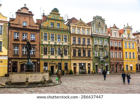 WARSAW, POLAND - JUNE 9: Old market square in Poznan in a summer day, Poland on June 9, 2014