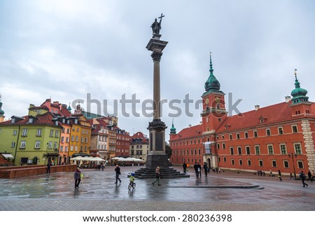 WARSAW, POLAND - JUNE 29: Royal Castle and Sigismund Column in Warsaw in a summer day, Poland on June 29, 2014