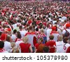 WARSAW, POLAND - JUNE 16: Thousands of Polish fans gathered in Fanzone, to support national team minutes before UEFA EURO 2012 football match vs. Czech team, June 16, 2012 in Warsaw, Poland - stock photo