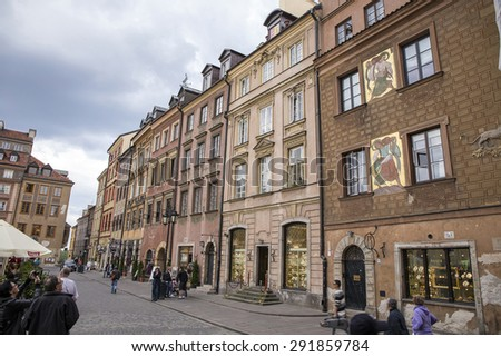 Warsaw, Poland, June 20, 2015: View of Warsaw old town
