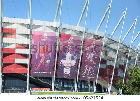 WARSAW, POLAND - JUNE 16: Warsaw National Stadium in Warsaw, Poland on June 16, 2012. The National Stadium will host the UEFA Euro 2012. - stock photo