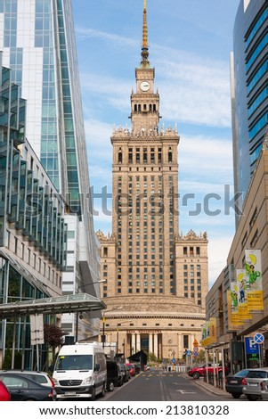 WARSAW, POLAND - JUNE 28, 2014:  Warsaw  streets   architecture. View at the Palace of Culture and Science, Congress Hall  from Zlota street - stock photo