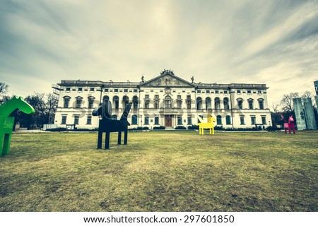 Warsaw, Poland - March 08, 2015: building of the National Library of Poland in Warsaw - stock photo