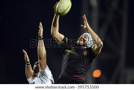 WARSAW, POLAND, MARCH 19,  2016: Inernational rugby game Poland - Belgium Europe Rugby Cup - stock photo