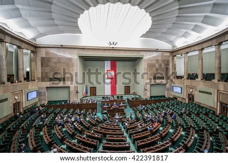 WARSAW, POLAND - MARCH 4, 2015. Members of Parliament during session of the lower house of the Polish parliament called Sejm