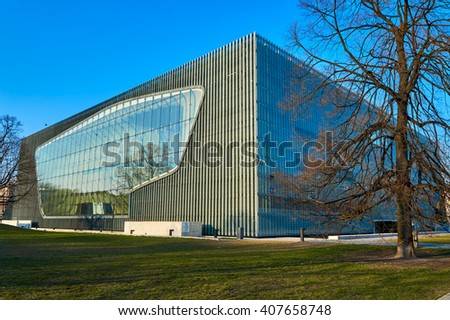 Warsaw, Poland - March 27, 2016:  Polin - the Museum of the History of Polish Jews opened its doors to the public in April 2013. The Core Exhibition, present the thousand-year history of Polish Jews.