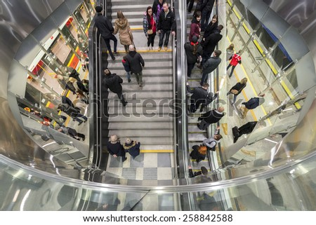 WARSAW, POLAND - MARCH 08, 2015: Second line of  Warsaw Subway system was opened in March 2015. This section is 6.1 km long and include a tunnel under the Vistula river. - stock photo