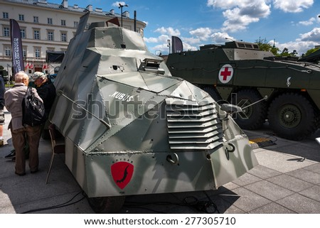 WARSAW, POLAND - MAY 08, 2015: Armored Car KUBUS,  created by the Polish Home Army AK, during the Warsaw Uprising 1944. Public celebrations of  70th Anniversary of End of WW II - stock photo