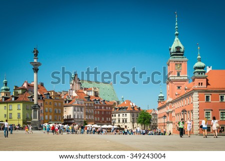 Warsaw, Poland - May 17, 2013. Castle square in Warsaw, Poland, Europe. Famous and interesting place for tourism. Old Town in Warsaw, Poland. UNESCO World Heritage Site.