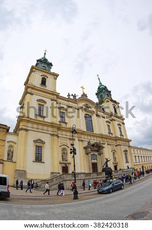 WARSAW, POLAND - MAY 27, 2015: Church of the Holy Cross (Bazylika Swietego Krzyza), one of the most notable Baroque Roman Catholic churches in Warsaw, Poland