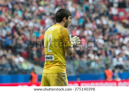 WARSAW, POLAND - MAY 02, 2015: Dusan Kuciak, Legia warsaw goalkeeper during Polish Cup final football match between Legia Warsaw and Lech Poznan in Warsaw. - stock photo