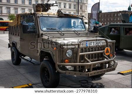 WARSAW, POLAND - MAY 08, 2015: Honker 2000 Skorpion 3, multi purpose all terrain pick up truck. Public celebrations of 70th Anniversary of End of World War II - stock photo
