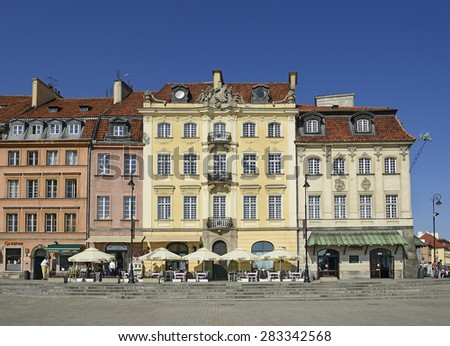 WARSAW, POLAND - MAY 31, 2015: Houses of Cracow suburb (Krakowskie Przedmiescie), the historical part of the city following the Old Town.