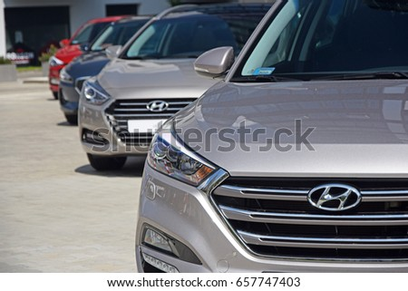 Warsaw, Poland - May, 05, 2017: Hyundai cars parking in a row in the exhibition point.