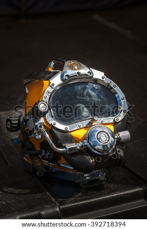WARSAW, POLAND - MAY 08, 2015: Kirby Morgan 37 Diving Helmet for diving in biologically contaminated water.. Public celebrations of 70th Anniversary of End of World War II - stock photo