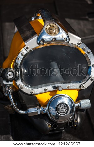 WARSAW, POLAND - MAY 08, 2015: Kirby Morgan 37 Diving Helmet for diving in biologically contaminated water at  public celebrations of 70th Anniversary End of World War II