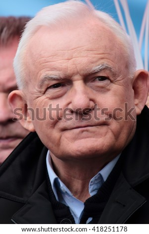 WARSAW, POLAND - MAY 1, 2016: Leszek Miller (Polish Prime Minister in 2001-2004) during the International Workers Day (Labor Day).