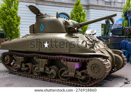 WARSAW, POLAND - MAY 08, 2015: M4 Sherman tank, Canadian version, used during  World War II. 70th Anniversary of End of WW II - stock photo