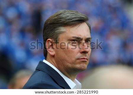 WARSAW, POLAND - MAY 02, 2015: Maciej Skorza, manager of Lech Poznan during Polish Cup Final football match between Legia Warsaw and Lech Poznan at the National Stadium in Warsaw. - stock photo