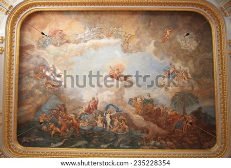 WARSAW, POLAND - MAY 29, 2008: Magnificent ceiling fresco of Warsaw royal palace on May 29, 2008 in Warsaw, Poland. The palace is a landmark monument and is a UNESCO World Heritage site in Poland.  - stock photo