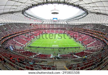 WARSAW, POLAND - MAY 27, 2015: Panoramic view of Warsaw National Stadium (Stadion Narodowy) before UEFA Europa League Final game between Dnipro and Sevilla - stock photo