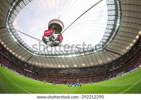 WARSAW, POLAND - MAY 27, 2015: Panoramic view of Warsaw National Stadium (Stadion Narodowy) during UEFA Europa League Final game between Dnipro and Sevilla - stock photo