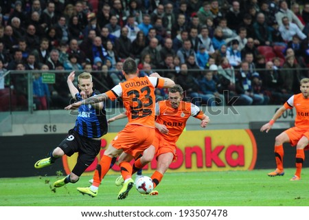 WARSAW, POLAND - MAY 2: Players during the Polish Cup final football match between Zaglebie Lubin and Zawisza Bydgoszcz, on May 2, 2014 in Warsaw, Poland.