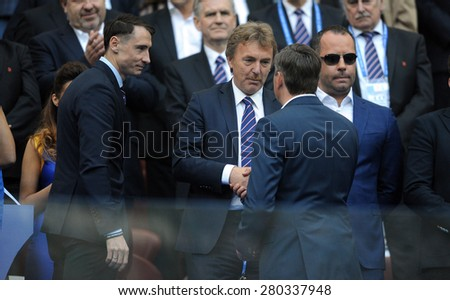 WARSAW, POLAND - MAY 02, 2015: Polish Football League Cup Final Legia Warsaw - Lech Poznan, o/p: Zbigniew Boniek head of PZPN Polish Football Federation, Boguslaw Lesniadorski owner of Legia