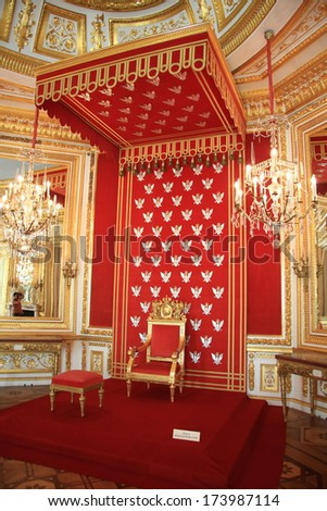 WARSAW, POLAND - MAY 29, 2008: Polish king's throne in Warsaw Palace on May 29, 2008 in Warsaw, Poland. The palace is a landmark monument and is a UNESCO World Heritage site in Poland.