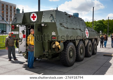 WARSAW, POLAND - MAY 08, 2015: ROSOMAK Medical Evacuation Vehicle, Wolverine - rear view. 70th Anniversary of End of World War II - stock photo