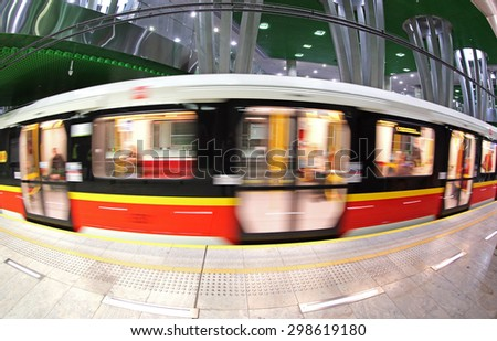 WARSAW, POLAND - MAY 27, 2015: Stadion Narodowy metro station in Warsaw. Station was opened in March 2015 as part of the 2nd line of Warsaw Subway system - stock photo