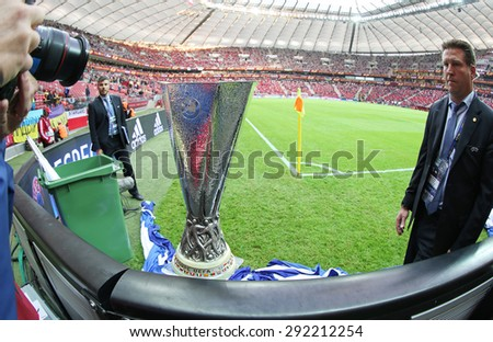 WARSAW, POLAND - MAY 27, 2015: UEFA Europe Laegue Trophy (Cup) presents before the final game between Dnipro and Sevilla at Warsaw National Stadium - stock photo