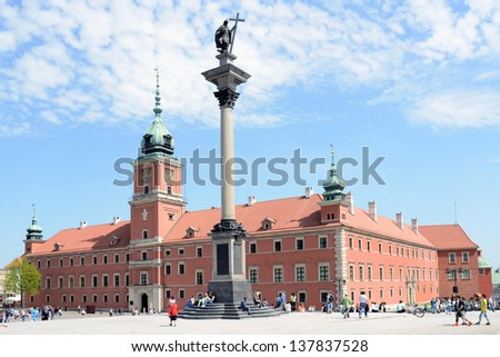 WARSAW, POLAND - MAY 8: View of Sigmund's Column and Royal Castle on May 8, 2013 in Warsaw, Poland. Warsaw is the most visited by tourists city in Europe.