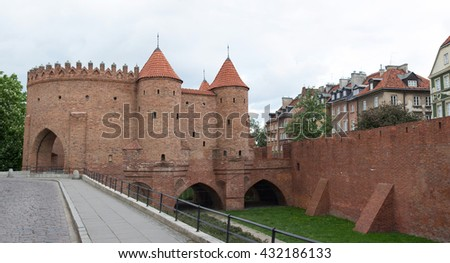 Warsaw, Poland - MAY 16, 2016: Warsaw Barbican (Polish: Barbakan Warszawski), semicircular fortified outpost in Warsaw city on May 16, 2016