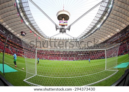WARSAW, POLAND - MAY 27, 2015: Warsaw National Stadium (Stadion Narodowy) before UEFA Europa League Final game between Dnipro and Sevilla - stock photo