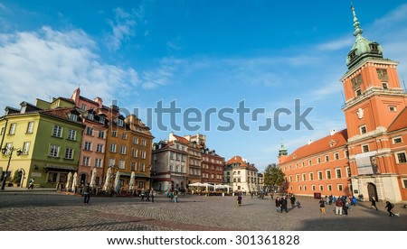 Warsaw, Poland - november 11, 2014: Castle Square  in Warsaw, Poland