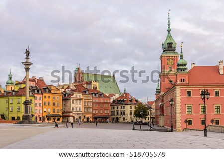 Warsaw, Poland - November 5, 2016: castle square in Warsaw with the Royal Palace and beautiful houses.