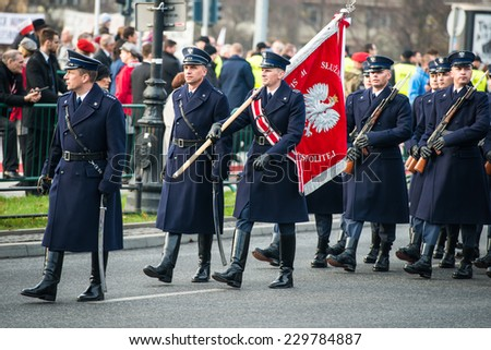 WARSAW, POLAND - NOVEMBER 11, 2014 : Celebrating the 25th anniversary of the independence of Poland, in the street parade on 11 Novemder, 2014
