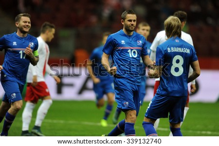 WARSAW, POLAND - NOVEMBER 13, 2015: EURO 2016 European Championship friendly game Poland - Iceland o/p Gylfi Thor Sigurdsson goal penalty - stock photo