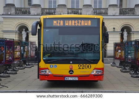 Warsaw, Poland - November, 19, 2012: Mercedes-Benz Conecto bus during presentation.
