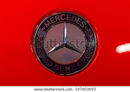WARSAW, POLAND - NOVEMBER 21, 2016: Mercedes Benz logo close up. Mercedes-Benz is a German automobile manufacturer. The brand is used for luxury automobiles, buses, coaches and trucks.