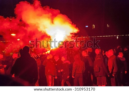 WARSAW, POLAND - NOVEMBER 11: Protests and riots at night during polish Independence day in Warsaw in November 11, 2014