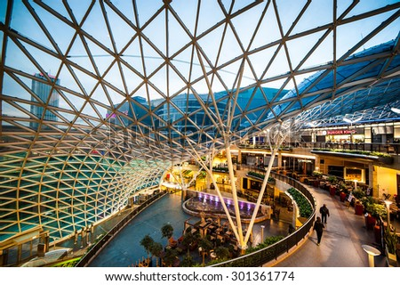 Warsaw, Poland - November 01, 2014: Shopping center Golden Terraces one of the most popular and visited shopping centers in Warsaw. - stock photo