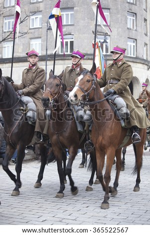 Warsaw, Poland - 11 November, 2015. The parade of military  reenactors groups.