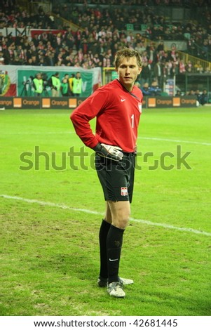 WARSAW, POLAND - NOVEMBER 14: Tomasz Kuszczak during the friendly match between Poland and Romania at the Legia Warsaw Stadium on November 14, 2009 in Warsaw, Poland.
