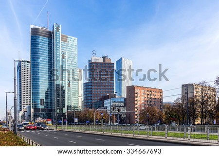 WARSAW, POLAND -  NOVEMBER 2, 2015: Warsaw downtown view with Rondo ONZ Tower in the foreground, office building designed by Skidmore, Owings, Merrill firm that created famous Burj Khalifa in Dubai.