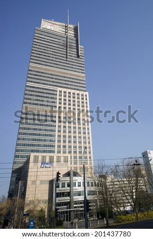 WARSAW, POLAND - OCT 30: The commercial buildings in new town, Warsaw, Poland on October 30 2013. Warsaw is one of the most important business hub in eastern Europe.